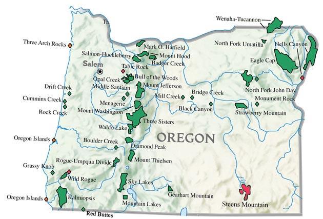 Oregon Wilderness Areas My Retirement Community - Map of oregon lakes