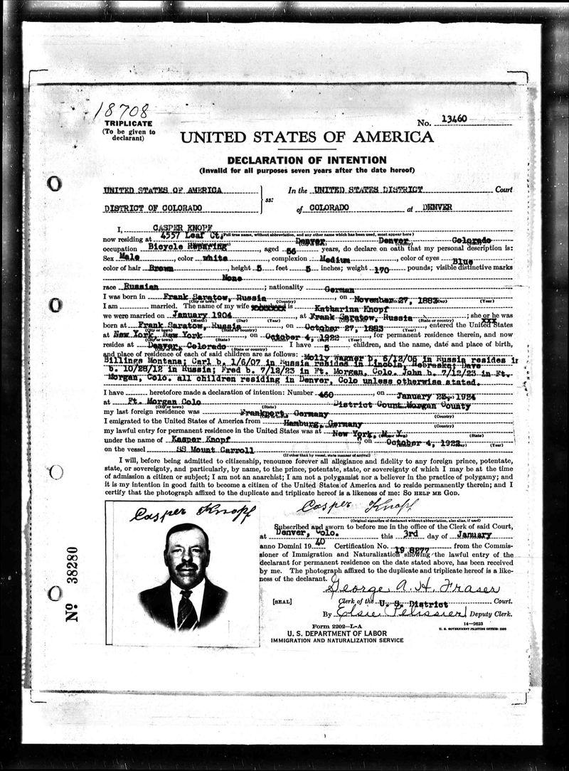 Casper Knopf naturalization